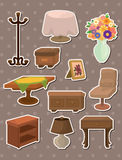 Furniture stickers. Cartoon vector illustration Stock Image