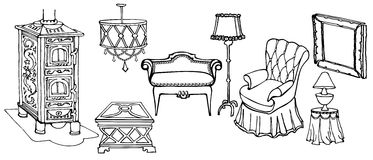 Furniture stove chair. Sketch set of  elegant  furniture and accessories for the old art deco living room with stove, armchair and a lamp black in white Stock Images