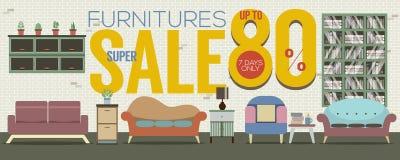 Furniture Super Sale 6250x2500 Pixel Banner. Furniture Super Sale 6250x2500 Pixel Banner Vector Illustration Stock Images