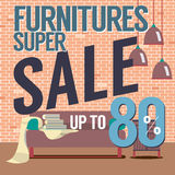 Furniture Super Sale Up to 80 Percent. Stock Photo