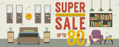 Furniture Super Sale Up to 80 Percent 6250x2500 Pixel Banner. Stock Image