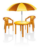 Furniture: table, chair, parasol. Cafe, garden furniture: table, chair, parasol.  Isolated on a white background Royalty Free Stock Photography