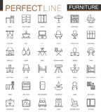 Furniture thin line web icons set. Outline stroke icon design. Stock Photos