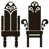 Furniture of throne icons isolated on white Stock Photo