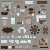 Furniture in top view. Big set of painted furniture.  vector objects. Tables, chairs, armchairs, lamps, beds, tables, carpets sofas bathrooms shower bidet More Royalty Free Stock Images