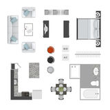 Furniture top view icons Stock Photography