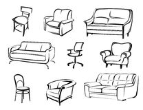 Furniture vector elements Royalty Free Stock Photos