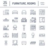 Furniture vector flat line icons. Living room tv stand, bedroom, home office, kitchen corner bench, sofa, nursery. Dining table, bedding. Thin signs collection stock illustration