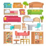 Furniture vector furnishings design of bedroom with bedding on bed in furnished interior of apartment and furnishing. Room with sofa armchair or chair set Royalty Free Stock Photos