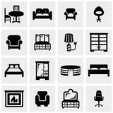 Furniture vector icons set on gray Stock Images