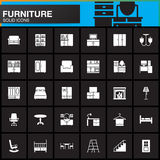 Furniture vector icons set, Home Interior modern solid symbol collection, pictogram pack isolated on black Stock Image