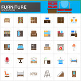 Furniture vector icons set, Home Interior modern solid symbol collection, pictogram pack isolated on white. Colorful logo illustration Royalty Free Stock Images