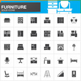 Furniture vector icons set, Home Interior modern solid symbol collection, pictogram pack isolated on white. Logo illustration Stock Images