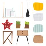 Furniture vector room interior design apartment home decor concept flat contemporary furniture architecture indoor. Elements illustration royalty free illustration