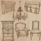 Furniture - Vector sketches, line art. FURNITURE (pack no.1) - Collection of an hand drawn vector illustrations. Each drawing comprise a few layers of lines, the Royalty Free Stock Photo
