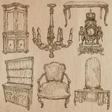 Furniture - Vector sketches, line art. FURNITURE (pack no.1) - Collection of an hand drawn vector illustrations. Each drawing comprise a few layers of lines, the Royalty Free Stock Photography