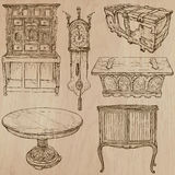 Furniture - Vector sketches, line art. FURNITURE (pack no.1) - Collection of an hand drawn vector illustrations. Each drawing comprise a few layers of lines, the Stock Photo