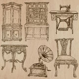 Furniture - Vector sketches, line art. FURNITURE (pack no.1) - Collection of an hand drawn vector illustrations. Each drawing comprise a few layers of lines, the Stock Image