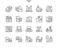 Furniture Well-crafted Pixel Perfect Vector Thin Line Icons 30 2x Grid for Web Graphics and Apps. Simple Minimal Pictogram Stock Photography