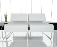 Furniture at white office. 3d image Stock Photography