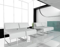 Furniture at white office. 3d image Royalty Free Stock Photo