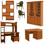Furniture. Wooden furniture, vector illustration Royalty Free Stock Photo