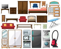 Furnitures and electronic equipments Royalty Free Stock Images