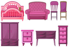 Furnitures i rosa färgfärg Arkivbild