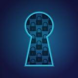 Furo chave conceptual com fragmento do fechamento Imagens de Stock