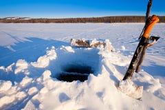 furo da Gelo-pesca Fotografia de Stock Royalty Free