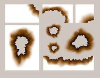 Furo de papel queimado Ilustração de papel chamuscada do vetor dos furos transparente Textura queimada do grunge das bordas ilustração royalty free