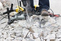 Furo de perfuração no concreto Imagens de Stock