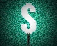 Furo do dinheiro de USD no fundo grande dos dados com escalada do homem de negócios ilustração royalty free