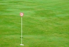 Furo do verde de colocação da prática do golfe e marcado fotografia de stock