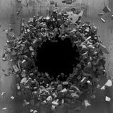 Furo escuro da explosão da parede velha concreta Fotografia de Stock