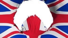 Furo grande na bandeira BRITÂNICA de Reino Unido ilustração royalty free