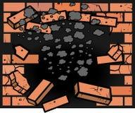 Furo na parede de tijolo Foto de Stock
