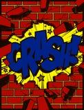 Furo na parede de tijolo de explosão com ilustração do vetor dos desenhos animados do estilo da banda desenhada do pop art do tex ilustração do vetor