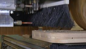 Furo no CNC da madeira da máquina de trituração para a produção industrial da mobília video estoque