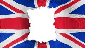 Furo quadrado na bandeira BRITÂNICA de Reino Unido ilustração do vetor