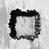 Furo quebrado rachado escuro no muro de cimento ilustração do vetor