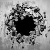 Furo quebrado rachado escuro no muro de cimento ilustração royalty free