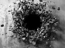 Furo quebrado rachado escuro no muro de cimento ilustração stock