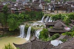 Furong, China - May 29, 2018: Furong ancient village and waterfa stock image