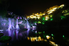 Furong (Hibiscus) ancient village at night Stock Image