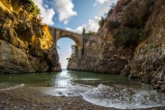 Furore on Amalfi Coast near Naples in Italy stock photos