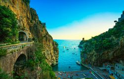 Furore beach bay in Amalfi coast, panoramic view. Italy Royalty Free Stock Photos
