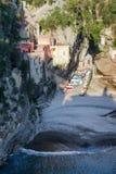 Furore fiord creek, beach and sea scenic view, Amalfi Coast, Italy royalty free stock photos