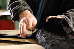Furrier cut leather Stock Photography