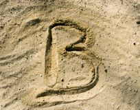 Furrow B on sand Stock Image